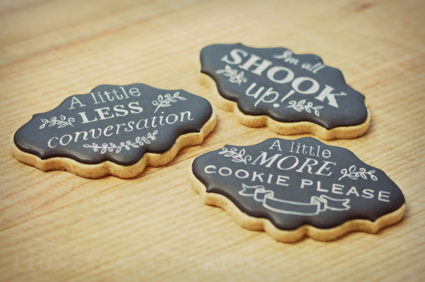 Chalkboard style Elvis quotation cookies and photo by Honeycat Cookies