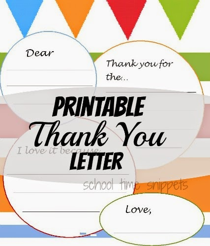 Printable Thank You Letter School Time Snippets