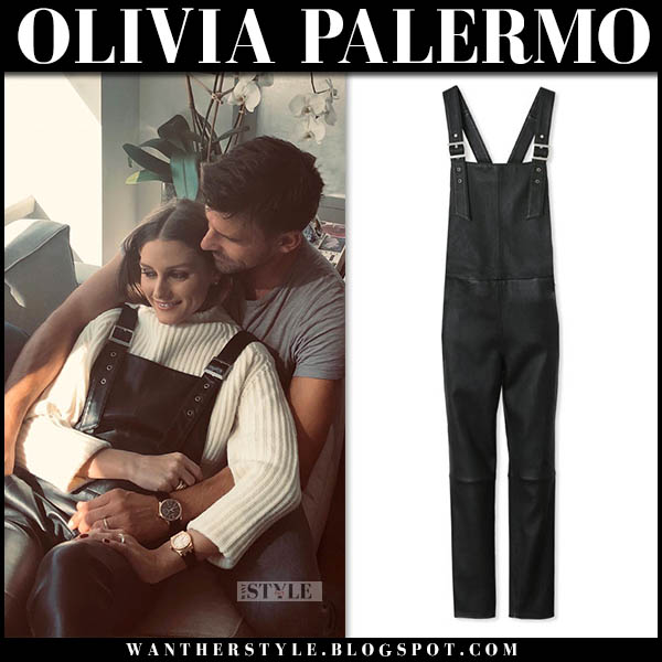 Olivia Palermo in black leather overalls maison de reefur casual outfit october 21