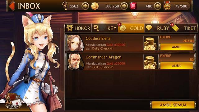 hadiah gold seven knights dari guild dan daily check-in