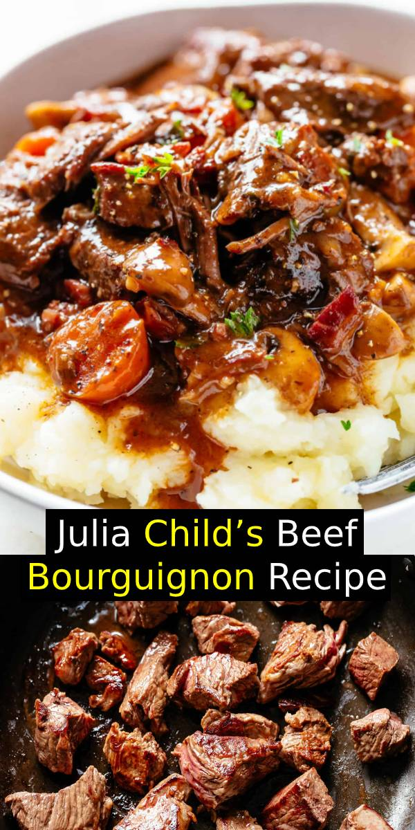 Julia Child's Beef Bourguignon is an incredible family dinner recipe! Slow Cooker, Instant Pot/Pressure Cooker, Stove Top and the traditional Oven method included! Easy to make, every step is worth. #groundbeef #beef #dinner #comfortfood #bestrecipe #dinnerrecipe