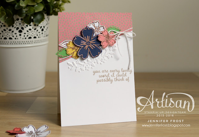 Love and Affection, Stampin' Up! Artisan Design Team blog hop, Affectionately Yours Papers and Embossing Folders, Copper powder, Papercraft by Jennifer Frost