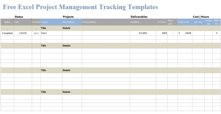 Microsoft Excel Templates Free Excel Project Management Tracking