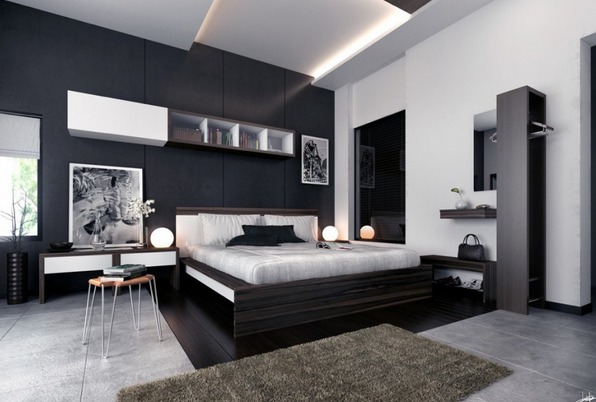 Black and white paintings that give the impression of retro in this gray and black bedroom