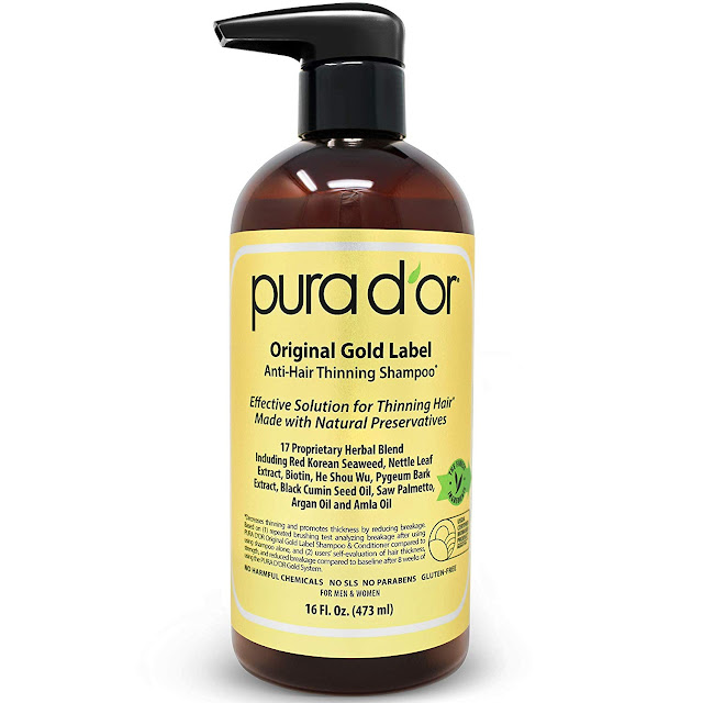 PURA D'OR Original Gold Label Anti-Thinning Shampoo Clinically Tested, Infused with Argan Oil, Biotin & Natural Ingredients, Sulfate Free, All Hair Types, Men and Women