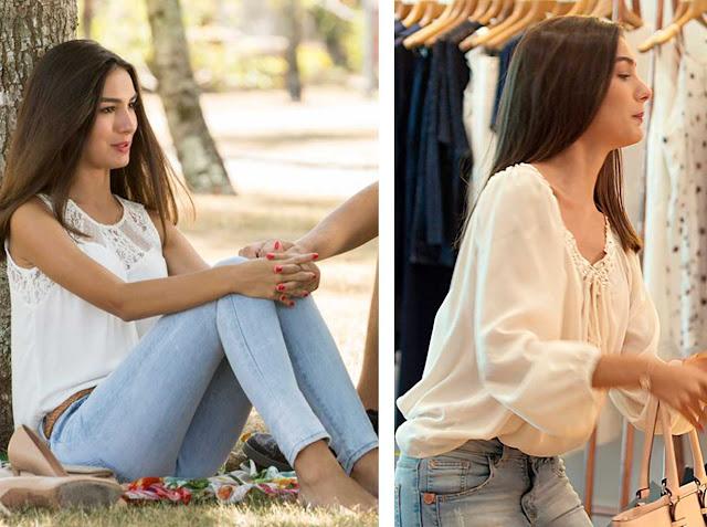 Jeans e blusa branca, Yasmin (Rock Story)