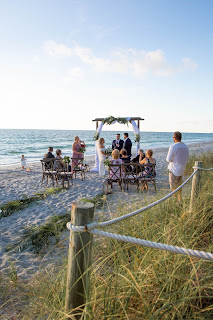 Small outdoor beach wedding with family