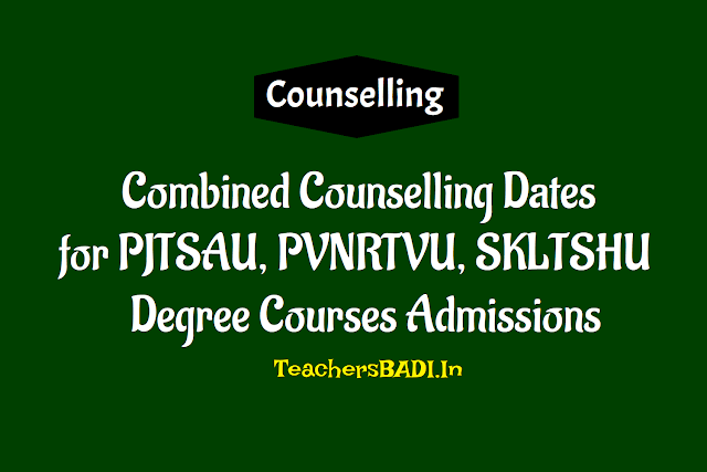 pjtsu spvnrtsuvahfs tsvu skltshu agriculture degree admissions counselling dates 2018,pjtsau ug admissions bipc stream courses combined counselling dates notification