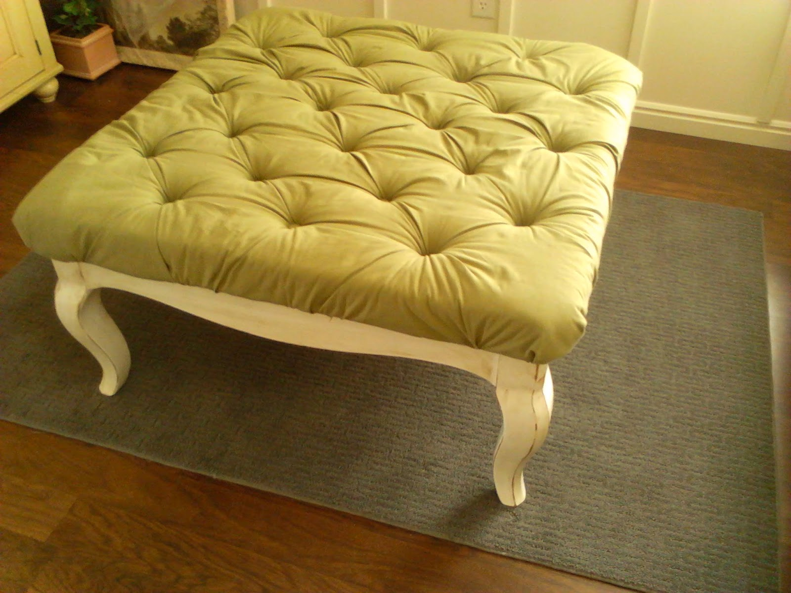 -Worth the Hassle-: DIY Coffee Table Turned Tufted Ottoman