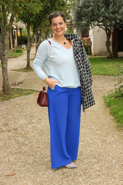 Pull cachemire, pantalon bleu suncoo, look du jour, les petites bulles de ma vie