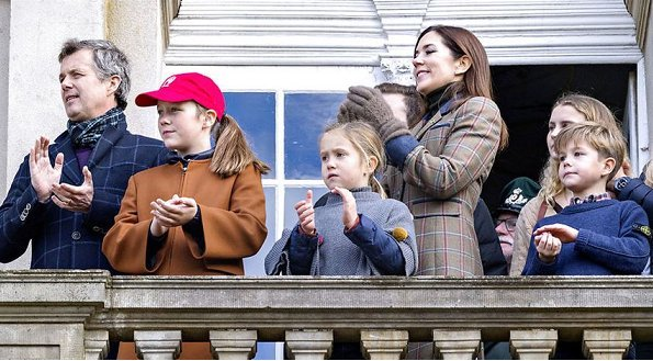 Crown Princess Mary, Princess Isabella, Prince Vincent and Princess Josephine. Mary wore lassic check basic long wool blend slit pocket plaid coat