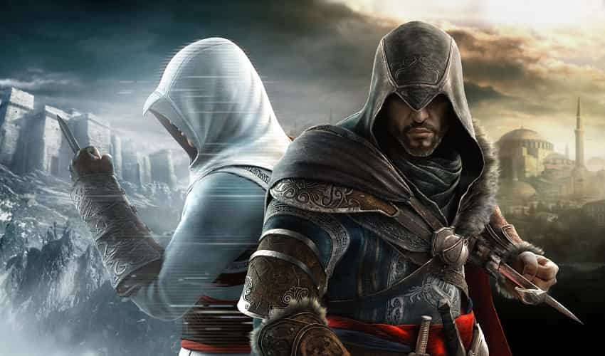 Altaïr, the main character of assassins creed 1 with a black dress And a knife inside it