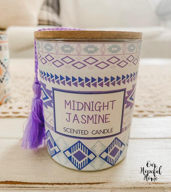midnight jasmine scented candle purple tassel