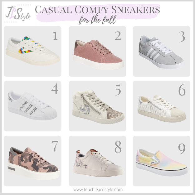 Casual, comfortable, stylish sneakers perfect for the transition from summer to fall