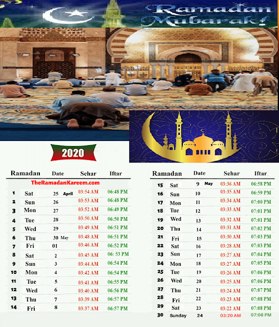Ramazan Calender Timings In Pakistan 2020