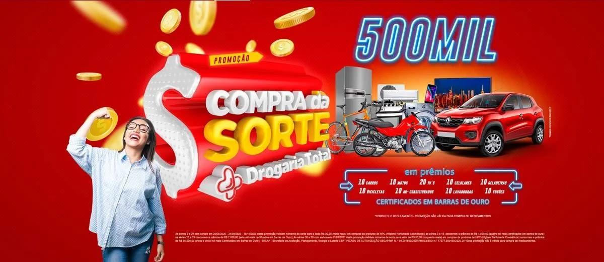 Promoção Drogaria Total 2020 Compra Sorte 500 Mil Reais Prêmios