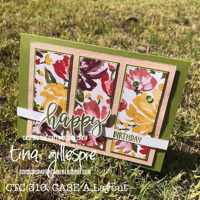 scissorspapercard, Stampin' Up!, CASEing The Catty, Fine Art Floral DSP, Pretty Perennials, Itty Bitty Birthdays, All Dressed Up Dies, Stitched Rectangles Dies, Subtle 3DEF