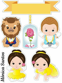 Beauty and the Beast Baby Free Printable Cake Toppers.