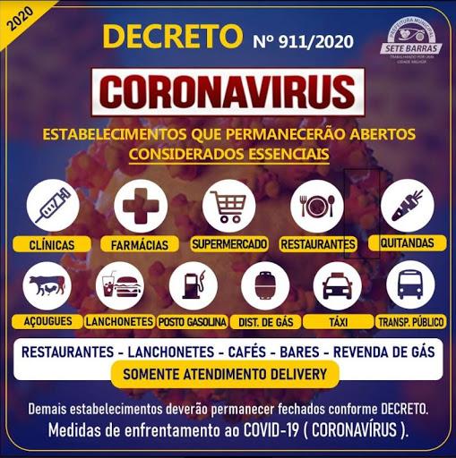 DECRETO DISPÕE SOBRE MEDIDAS DE ENFRENTAMENTO AO COVID-19 (CORONAVÍRUS) EM SETE BARRAS