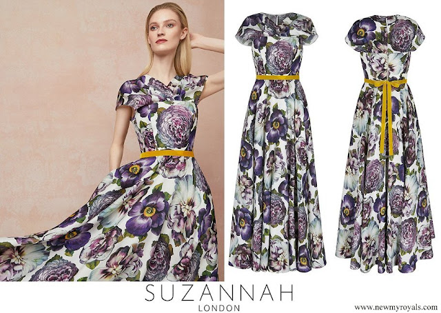 Countess of Wessex wore Suzannah cabbage floral silk skirt