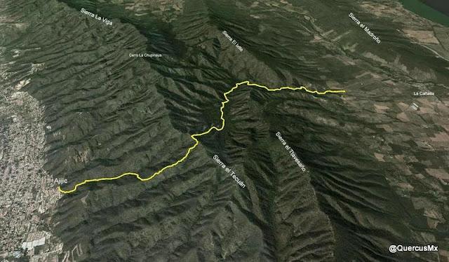 Ruta La Cañada - Ajijic por la Sierra El Travesaño y la Sierra El Tecuán