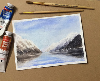 A water colour study of mountains and its reflections on Chitrapat handmade paper