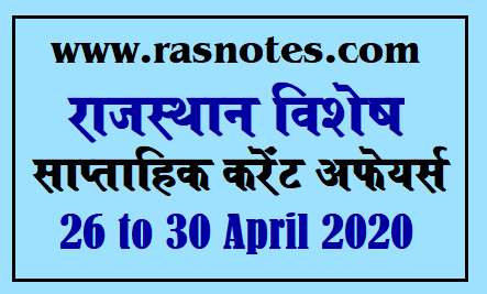 Rajasthan Special Current affairs in hindi pdf April 2020 Current GK
