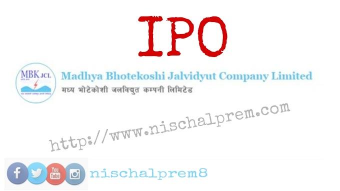 Madhya Bhotekoshi Jalavidhyut Company Limited issues IPO to public
