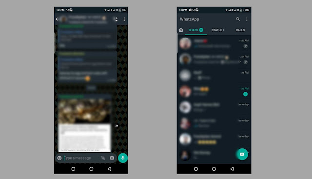 dark theme of Whatsapp on android