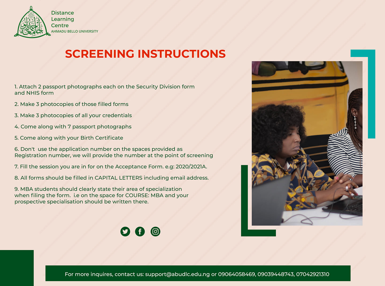 ABU DLC Screening & Registration Guidelines for Freshmen 2020/2021