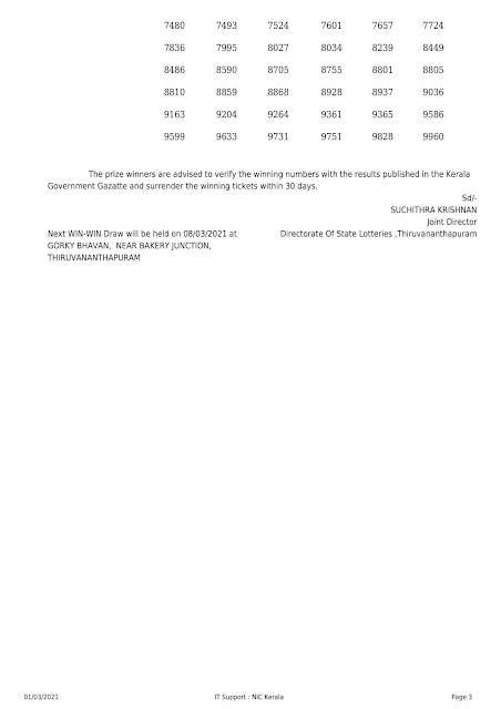 Win Win W-605 | kerala Lottery Result  | 01.03.2021 Part-2