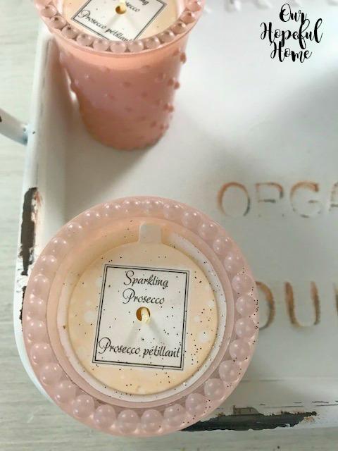 sparkling proseco petillant pink hobnail candleholder