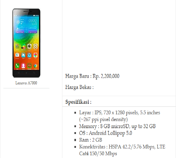 9. HP Android Ram 2GB Lenovo A7000