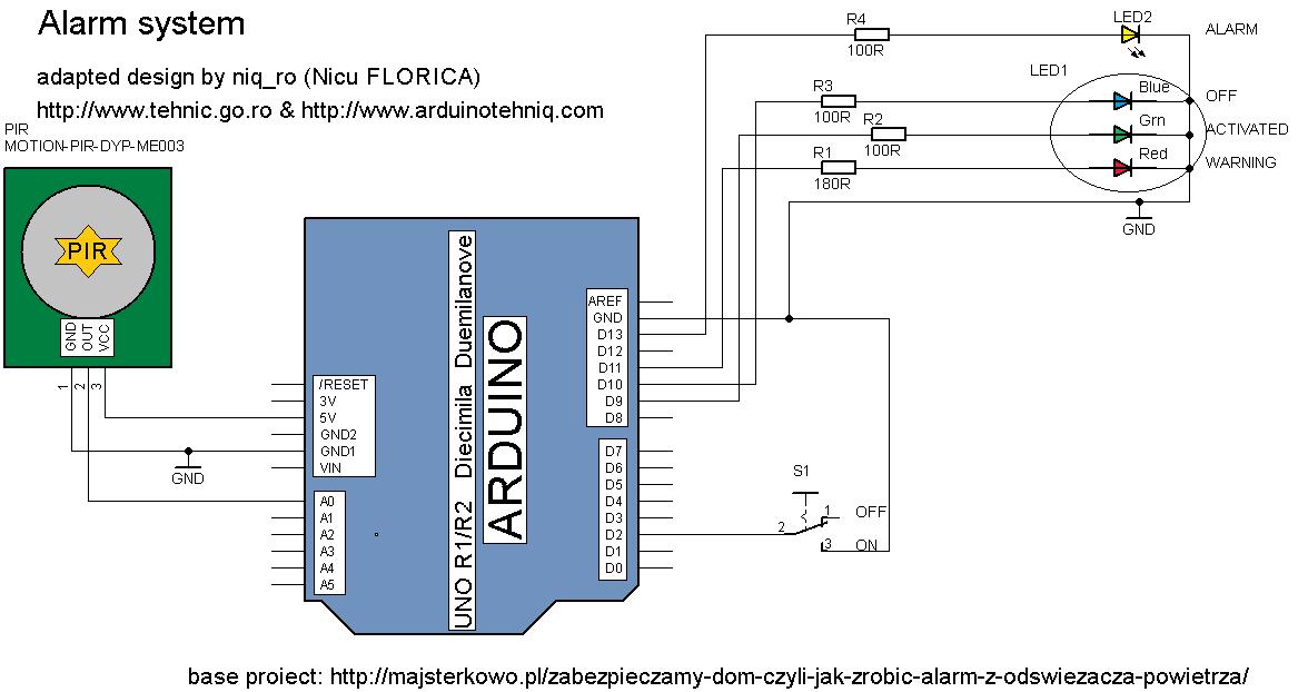 Arduino tehniq alarm system with delay