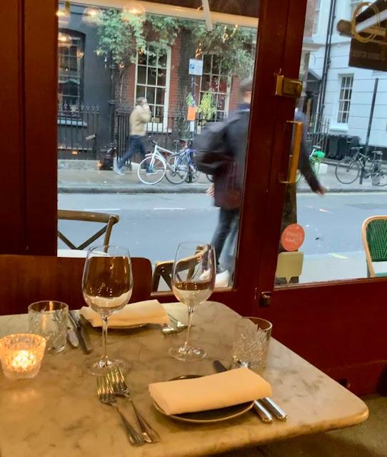 window table at 40 Dean Street, London