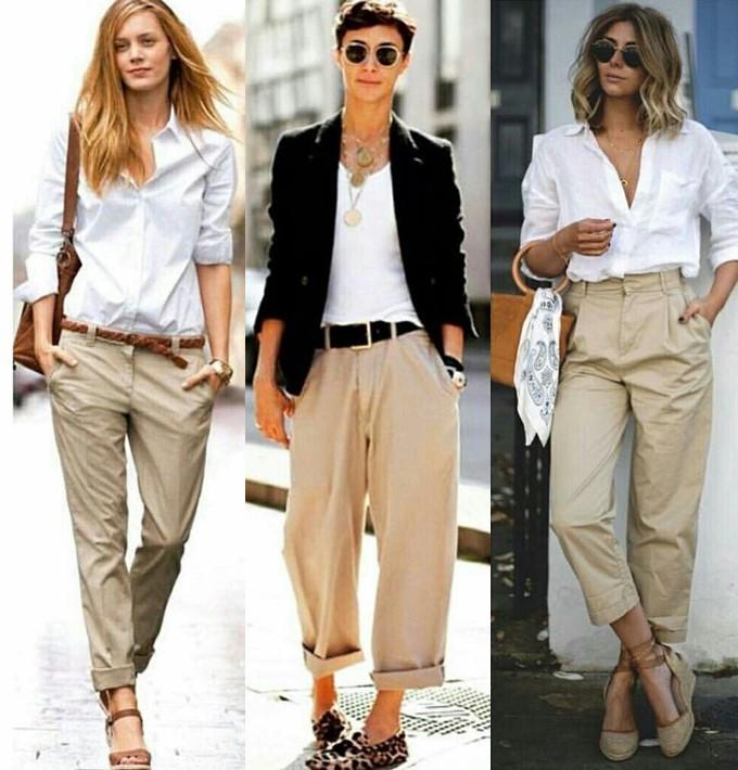 Calça bege e blusa branca ou camisa feminina