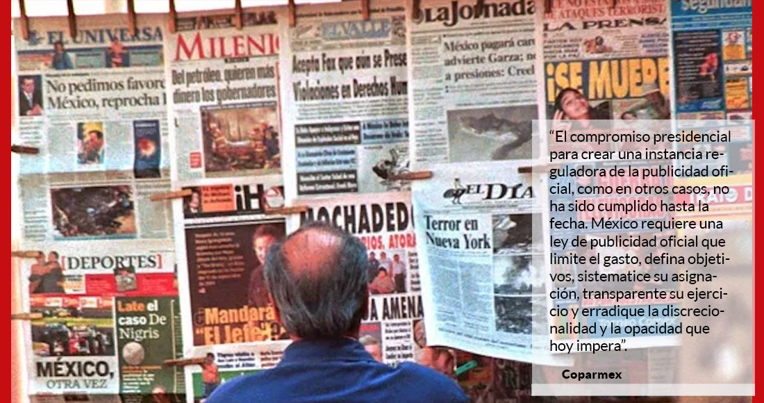 Coparmex reclama a EPN que gaste más en publicidad que en educación, salud y desarrollo social