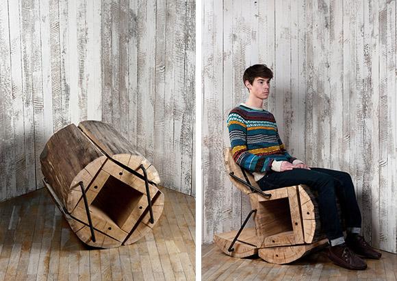 Diseño de sillón en un tronco