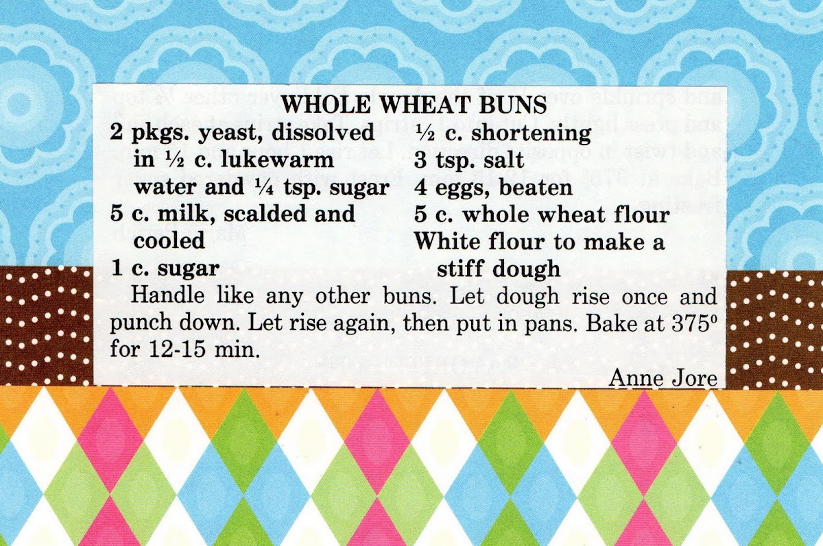 Whole Wheat Buns (quick recipe)