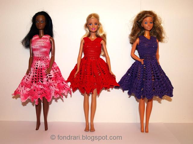 Heklaðir Barbie kjólar