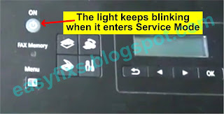 The light keeps blinking when it enters Service Mode