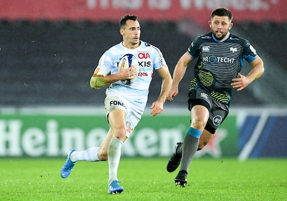 Juan Imhoff of Racing 92 during the European Rugby Challenge Cup, Pool 4 match between Ospreys and Racing 92