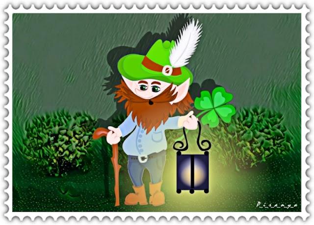 "картинка иллюстрация арт ""Лепрекон с фонарем и волшебный клевер"" p_i_r_a_n_y_a"