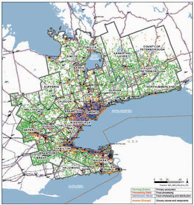 Map showing the reach of the Golden Horseshoe Toronto hinterland food supply programme.