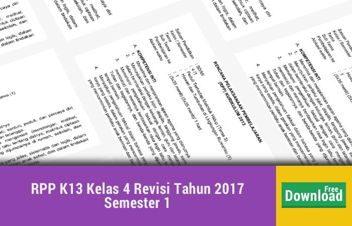 RPP K13 Kelas 4 Revisi Tahun 2017 Semester 1