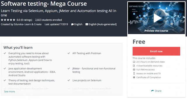 [100% Free] Software testing- Mega Course