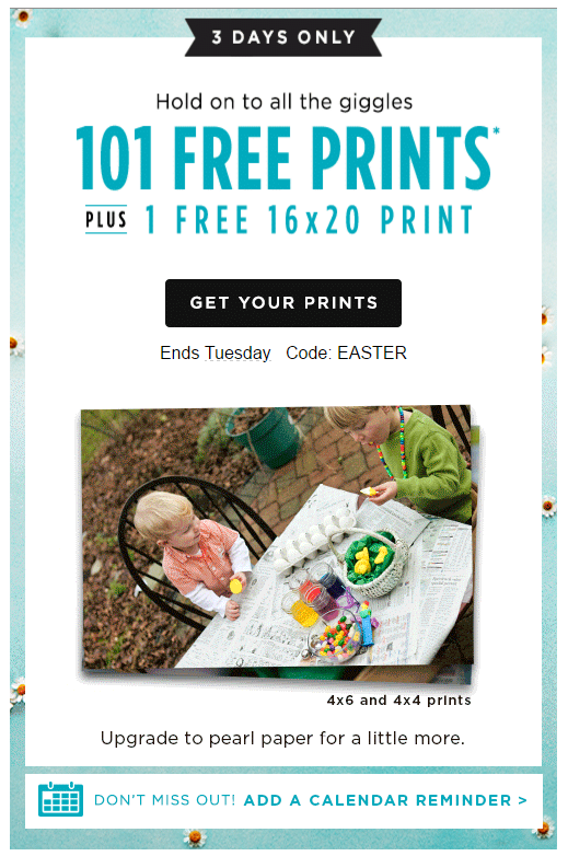 Shutterfly 101 Free Prints 1 Free 16x20 Print S H Qpanion