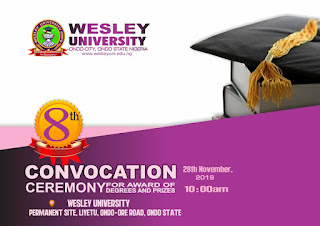 Wesley University 8th Convocation Ceremony Programme of Events 2019