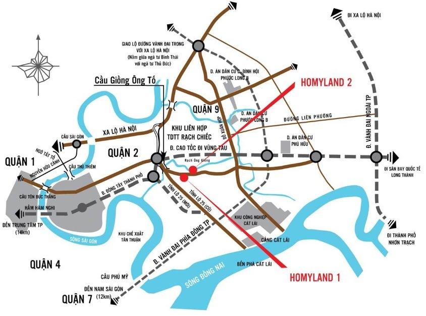 vị trí căn hộ homyland 3 quận 2