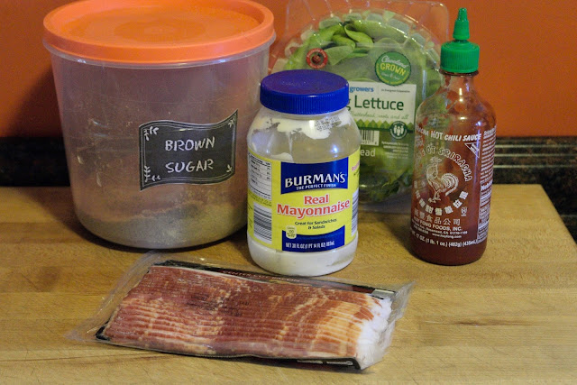 The ingredients needed to make the Candied Bacon BLT's with Sriracha Mayonnaise.